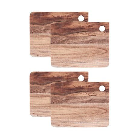 Nicolas Vahe 18x14x1,2cm bois brun Breadboard (ensemble de 4)