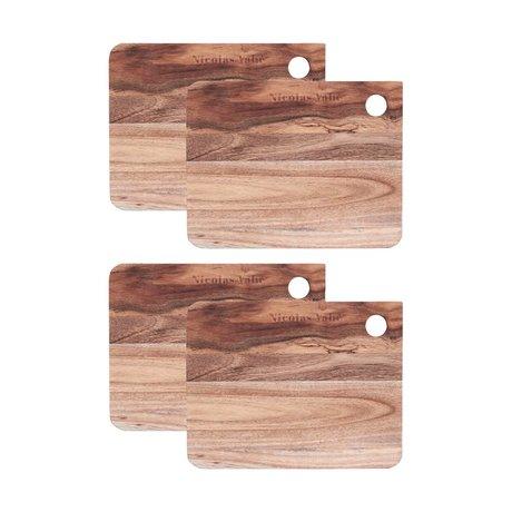 Nicolas Vahe Broodplank bruin hout 18x14x1,2cm (set van 4)