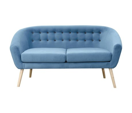 I-Sofa Vera bench blue textile wood 148x67x76cm