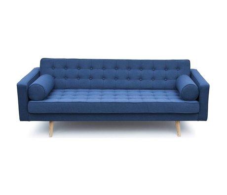 I-Sofa Milan banc textile bleu bois 200x90x73cm