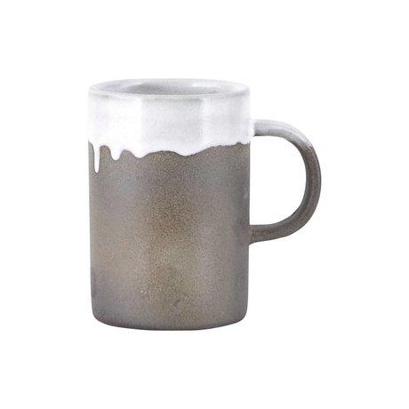 Housedoctor Tasse Courir Glaze blanc gris en terre cuite ø7x10,5cm