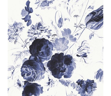 KEK Amsterdam Wallpaper Royal Blue Flowers I multicolor paper web 389,6x280cm