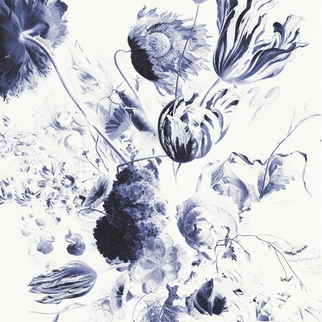 KEK Amsterdam Fond d'écran bleu royal fleurs II multicolore papier web 194,8x280cm