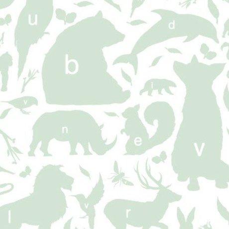 KEK Amsterdam Behang groen/wit Alfabet Beestjes 146,1 x 280cm 4m²