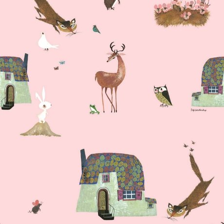 KEK Amsterdam Wallpaper Fiep Westendorp Forest Animals pink 146,1x280cm