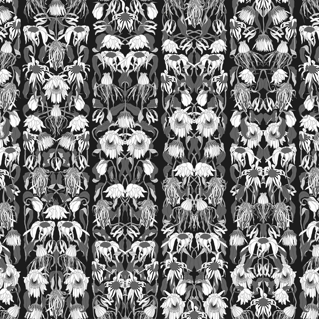 Nlxl Studio Job Wallpaper Fleurs Fanees Noir 06 Papier Blanc
