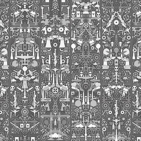"NLXL-Studio Job Wallpaper papier ""01 Industrie"" 900x48.7cm gris / blanc"