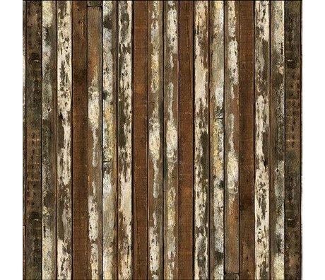 NLXL-Piet Hein Eek Wallpaper 'Scrapwood 13' paper brown / white 900 x 48.7 cm