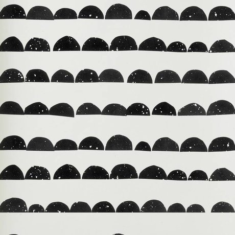 Ferm Living Wallpaper black / white paper 10,05 x0, 53m, Half Moon Wallpaper