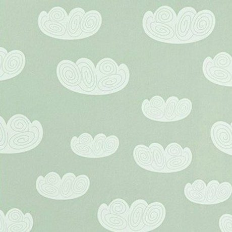 Ferm Living Wallpaper Cloud clouds mint green paper 10.05mtrx53cm