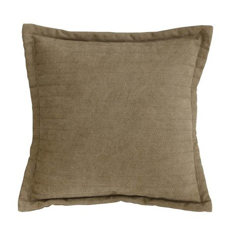 HK-living Cushion Quilted brown canvas stonewashed cotton printed 45x45cm