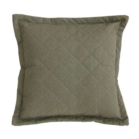 HK-living Cushion Quilted green canvas stonewashed cotton printed 45x45cm