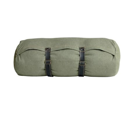 HK-living Cushion green canvas stonewashed printed cotton and leather straps 55x20cm