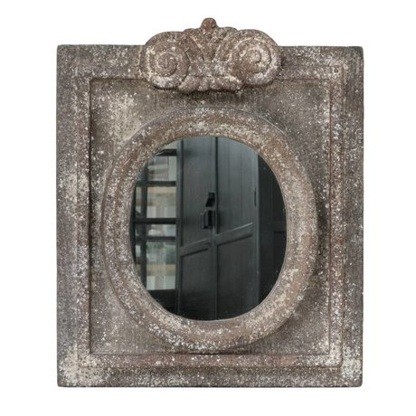 HK-living Mirror with antique look gray pottery 50x61x5cm