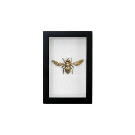 HK-living Frame black fly gold plastic cotton brass 15,5x10,5x4cm