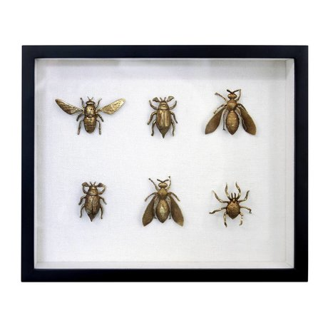 HK-living Frame insects black gold brass plastic cotton 23x28x4cm