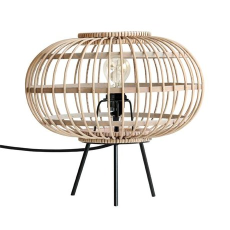 HK-living Table lamp natural brown black bamboo metal 34x34x32cm