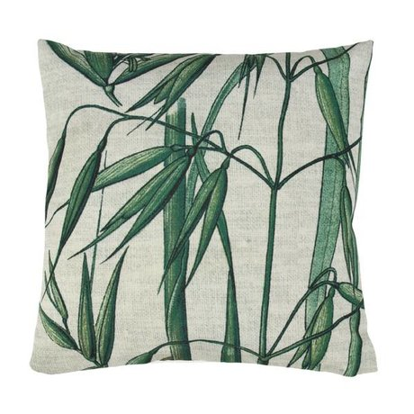 HK-living Throw Pillow bamboo green white cotton 45x45cm