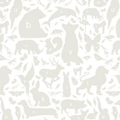 KEK Amsterdam Wallpaper gray / white Alphabet Bugs 146.1 x 280 cm 4m