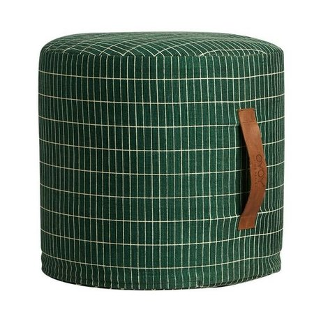 OYOY Pouf sit on me green white cotton Ø40x37cm