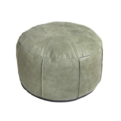 HK-living Pouf rustic leather army green 50x50x30cm