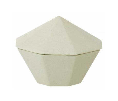 Ferm Living Porcelain bowl with lid mint green Treasure Diamond Large Ø12x9cm