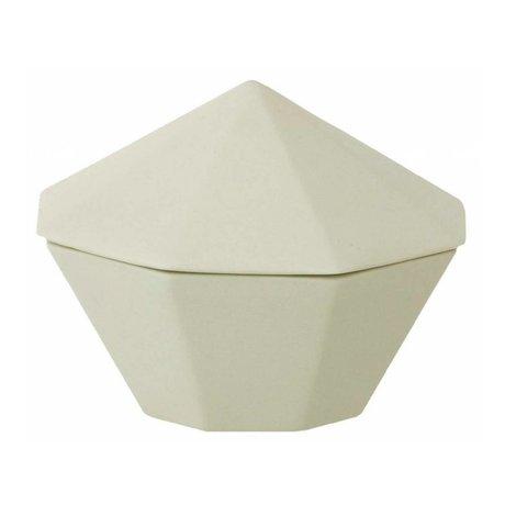 Ferm Living Bol en porcelaine avec couvercle vert menthe Trésor diamant Grand Ø12x9cm