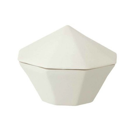Ferm Living White porcelain bowl with lid Treasure Diamond Small Ø10x7cm