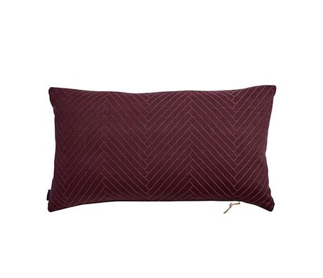 OYOY Fluffy Cushion Herringbone eggplant purple cotton 40x70cm