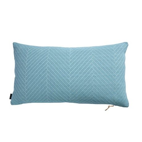OYOY Fluffy Cushion Herringbone blue cotton 40x70cm