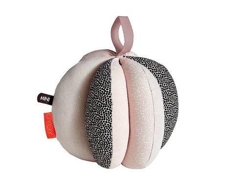 OYOY Puzzle balle rose noire en coton blanc Ø13cm