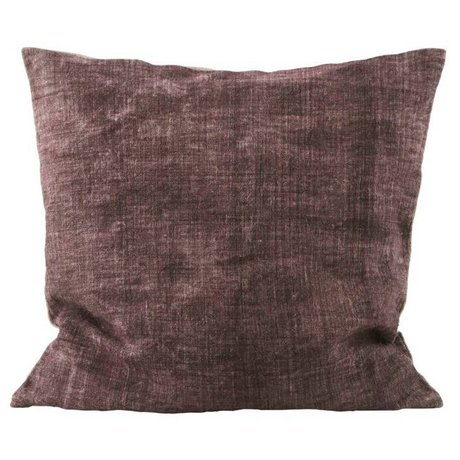Housedoctor Cushion cover Washed burgundy cream linen 50x50cm