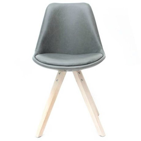 LEF collections Dining chair bari gray PU leather 58x55x84cm