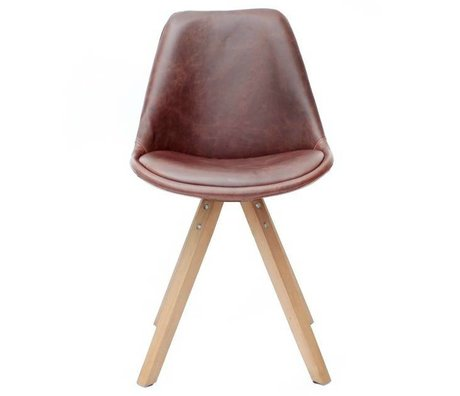 LEF collections Dining chair bari brown PU leather 58x55x84cm