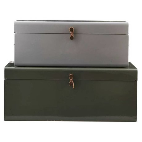 Housedoctor Opbergerkist set of 2 green gray 52x26x20cm / 60x36x24cm