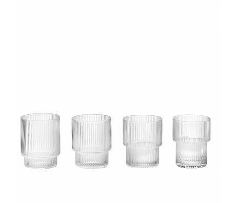 Ferm Living Glas Ripple transparant glas ø8,8x7cm set van 4
