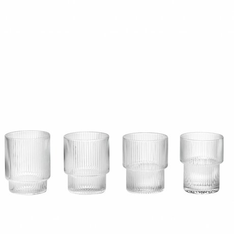 Ferm Living Ripple glass transparent glass ø8,8x7cm set of 4