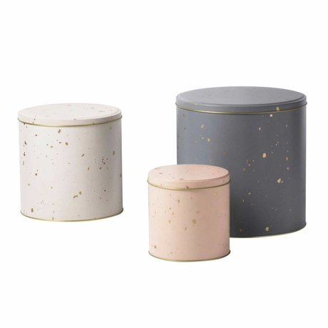 Ferm Living Tin hamper pink white gray metal set of 3