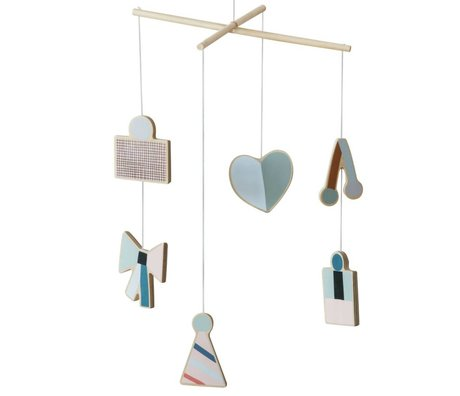 Ferm Living Musik Party blau Holz 20x40cm