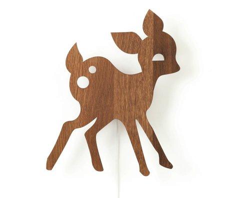 Ferm Living Wandlamp Hert bruin hout 29x38,5cm
