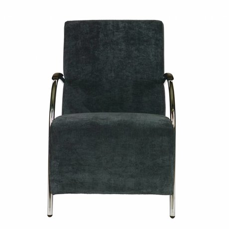LEF collections Halifax armchair in steel blue corduroy fabric 90x56x85cm