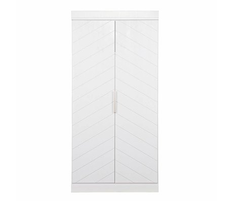 LEF collections Connect 2 door cupboard fishbone white pine 195x94x53cm