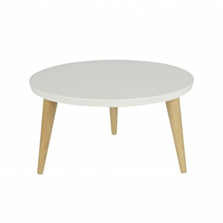 LEF collections Occasional table Elin white brown wood 32xØ50cm