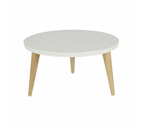 LEF collections Occasional table Elin white brown wood 27xØ60cm