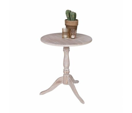 LEF collections Wine Table Ivy whitewash white wood 57x50cm