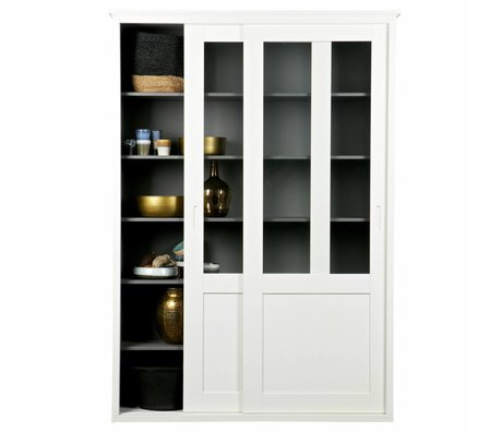 LEF collections Schuifdeurkast Vince white Pine 147x46x208cm