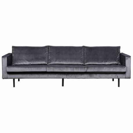 BePureHome Bank Rodeo 3 places velours velours gris 85x277x86cm