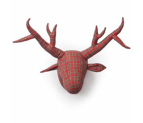 Wild and Soft Animal Abstract red tartan William textile 40x50x60cm