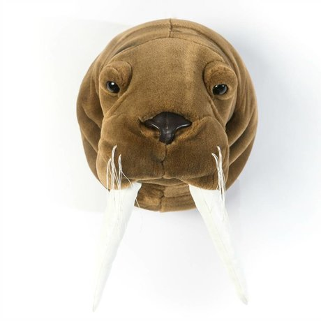 Wild and Soft Dierenkop walrus Jacob bruin wit textiel 29x24x29cm