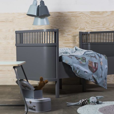 Sebra Bed baby & junior dark gray wood 112.5-155x70x88cm